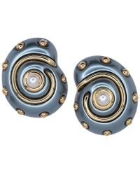Kenneth Jay Lane - Grey Pearl With Gold Dots And Pearl Center Snail Clip Earrings - Lyst