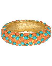 Kenneth Jay Lane - Coral & Turquoise Cabachon Bracelet - Lyst