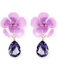 Jennifer Behr - Lucia Violet Flower Earrings - Lyst