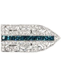 Kenneth Jay Lane - Crystal Deco Pin With Sapphire - Lyst