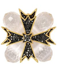 Kenneth Jay Lane - Gold Cross Clear Pin - Lyst