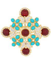 Kenneth Jay Lane - Gold/crystal Maltese Cross Pin - Lyst