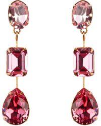 Jennifer Behr - Allanah Pink 3 Drop Earrings - Lyst