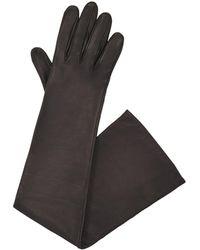 Lanvin - Long Black Leather Gloves - Lyst