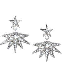 Kenneth Jay Lane - Rhinestone Crystal Starburst Drop Pierced Earrings - Lyst