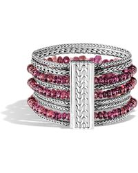 John Hardy - Classic Chain Silver, Aquamarine & Kyanite Multi-row Bracelet - Lyst