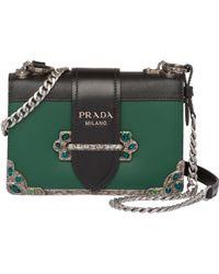 34bffb05f838 Lyst - Prada Cahier Leather Shoulder Bag in Blue