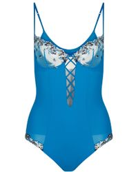 La Perla - Opal Blooms Azure Lycra Body With Embroidered Tulle And Lace Up Detail - Lyst
