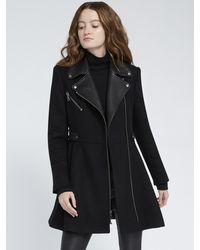 Alice + Olivia Cody Leather Detail Midi Coat - Black