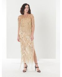 Oscar de la Renta - Sequin Fishnet Embroidered Tulle Two-piece Gown - Lyst