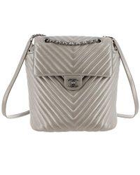 Chanel - Metallic Chevron Calf Leather Drawstring Backpack - Lyst b5a1e9bfc60f7