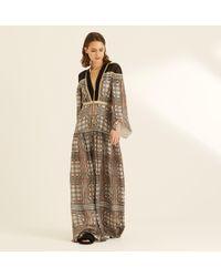 33cd504e1a45 Amanda Wakeley - Printed Metallic Lattice Check Maxi Dress - Lyst
