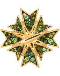 Kenneth Jay Lane - Multi Green Maltese Cross Pin - Lyst