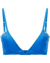 c7b321f04 La Perla - Opal Blooms Azure Lycra Triangle V-bra With Embroidered Tulle -  Lyst