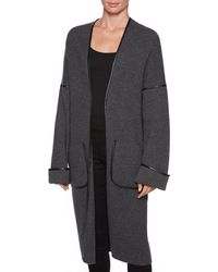Magaschoni - Contrast Leather Piping Coat - Lyst