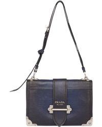 cf0abbba3294e3 Prada Cahier Medium Glace Calf Shoulder Bag in Blue - Lyst