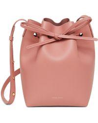 779c63229 Mansur Gavriel Canvas Bucket Bag In Blush With Moss in Pink - Lyst