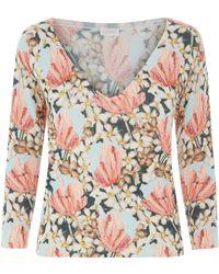 La Perla - Knitwear Multicolour Floral Cashmere V-neck Jumper - Lyst