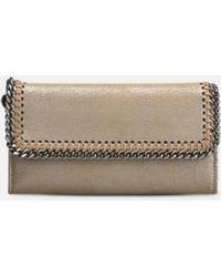 77a1545805 Stella McCartney - Redwood Falabella Shiny Dotted Chamois Flap Wallet - Lyst
