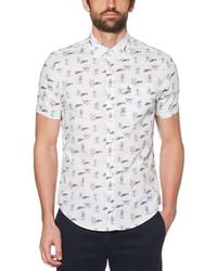 f89b6041 Lyst - Original Penguin Floral Island Print Chambray Shirt in Blue ...