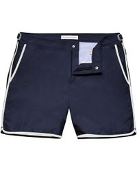 Orlebar Brown - Bulldog Navy/white Binding Mid-length Swim Shorts - Lyst