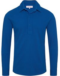 Orlebar Brown Sebastian Signal Blue Tailored Long Sleeve Polo - Azul