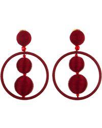Oscar de la Renta - Gold Threaded Bead Hoop Earrings - Lyst