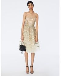 Oscar de la Renta - Sequin Band-embroidered Tulle Cocktail Dress - Lyst