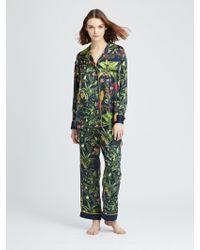 Oscar de la Renta - Toucan Jungle Silk-charmeuse Pyjama Pant - Lyst