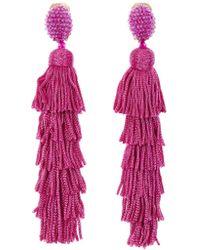 Oscar de la Renta - Peacock Tiered Tassel Earrings - Lyst