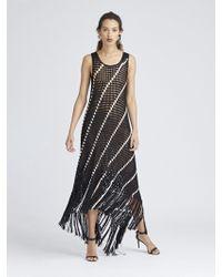 Oscar de la Renta - Asymmetric Fringed Crochet-knit Maxi Dress - Lyst