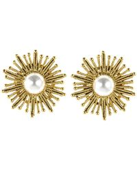 Oscar de la Renta - Pearl Sun Star Button Earrings - Lyst