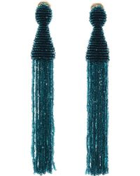 Oscar de la Renta - Peacock Long Beaded Tassel Earrings - Lyst