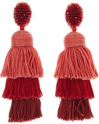 Oscar de la Renta - Long Silk Tiered Tassel Earrings - Lyst