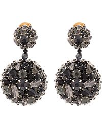 Oscar de la Renta - Black Jeweled Disk Earrings - Lyst
