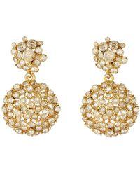 Oscar de la Renta - Jeweled Flower Drop Earrings - Lyst