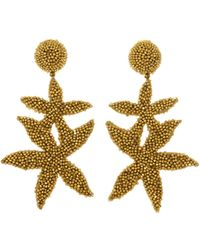 Oscar de la Renta - Gold Double Starfish Earrings - Lyst