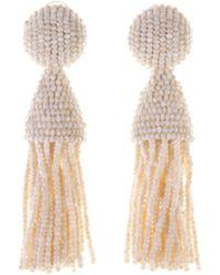 Oscar de la Renta - Ivory Classic Short Tassel Earrings - Lyst