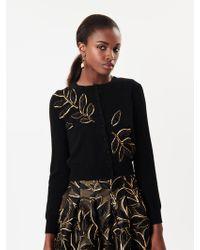 Oscar de la Renta - Leaf Embroidered Wool Cardigan - Lyst