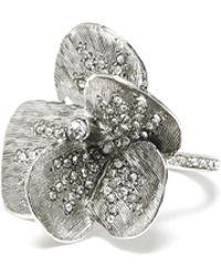 Oscar de la Renta - Brushed Texture Flower Pave Ring - Lyst