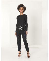 Oscar de la Renta - Black Sequin Stripe Embroidered Wool Trousers - Lyst