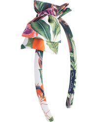 Oscar de la Renta - Jungle Monkeys Mikado Bow Headband - Lyst