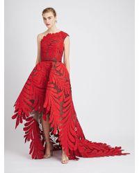 Oscar de la Renta - Asymmetric Embroidered Gown - Lyst