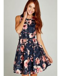 Apricot - A-Linien-Kleid »Floral Leaf Check Skater Dress« (mit Gürtel) im Mustermix - Lyst