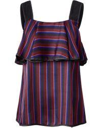 Sienna Blusentop aus Satin mit modischem Pyjama-Streifen