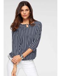 Olsen - Blusenshirt mit Tropfenausschnitt und elastischem Saum - Lyst