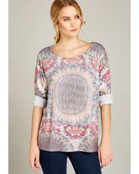 Apricot - Shirtbluse » Floral Oval Placement Top« Zweilagige Optik - Lyst