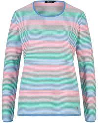 Olsen - Rundhalspullover mit farbenfrohen Streifenmuster - Lyst