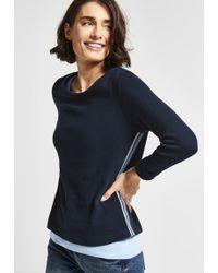 Street One - Langarmshirt mit College-Style Streifen - Lyst