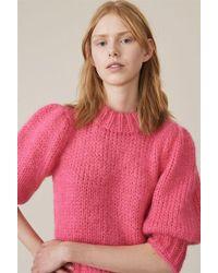 Ganni - The Julliard Mohair Puff Sleeve Pullover Hot Pink - Lyst